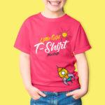 Cute Little girl wearing red t-shirt