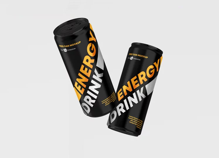 Energy Drink Cans Mockup