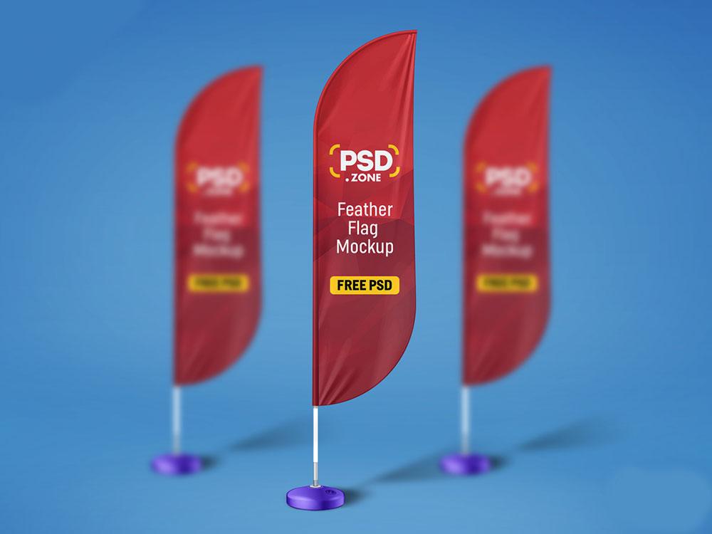 Feather Flag PSD Mockup