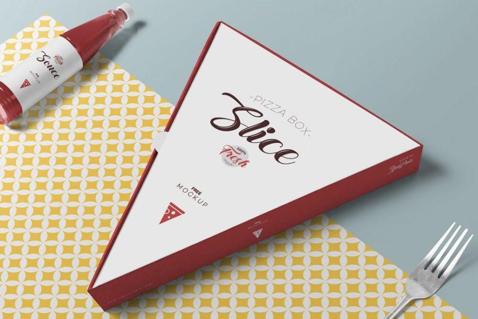 Free Pizza Slice Box Mockup PSD