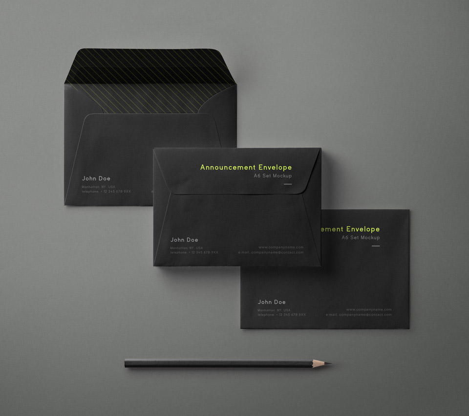 A6 Envelope Set Mockup