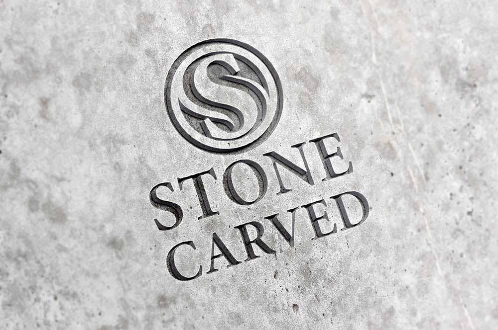 Carved Stone Logo PSD Mockup