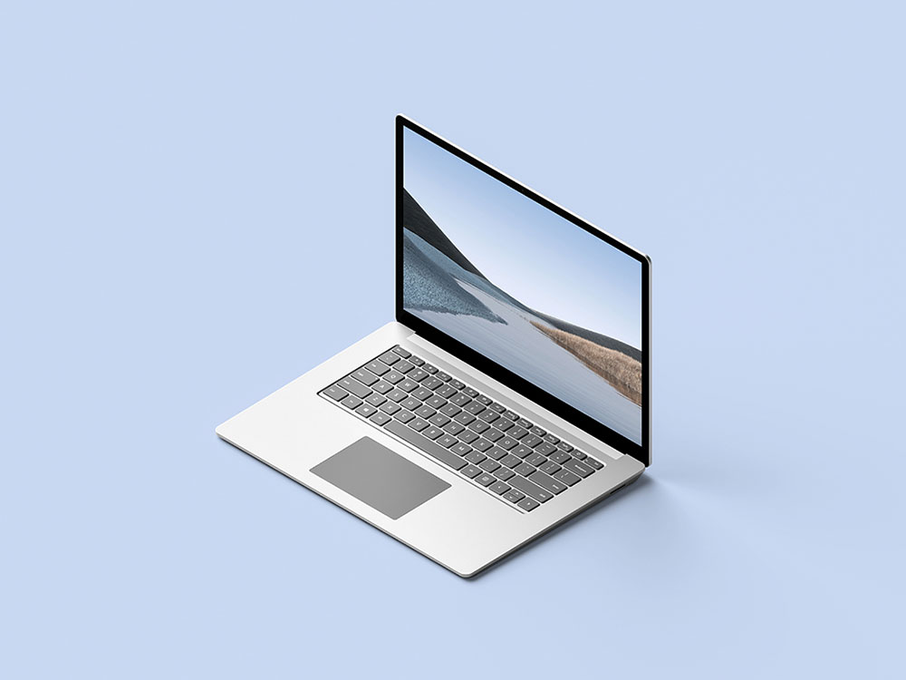 A Laptop on Blue Surface Mockup