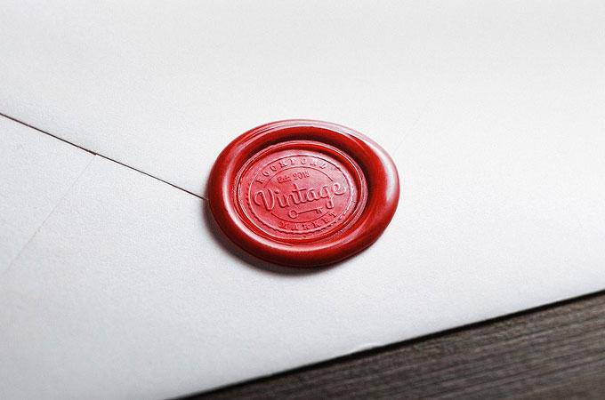 Wax Seal Logo Mockup