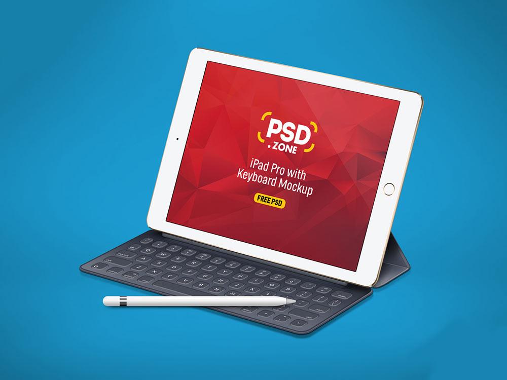 iPad Pro Mockup with Keyboard