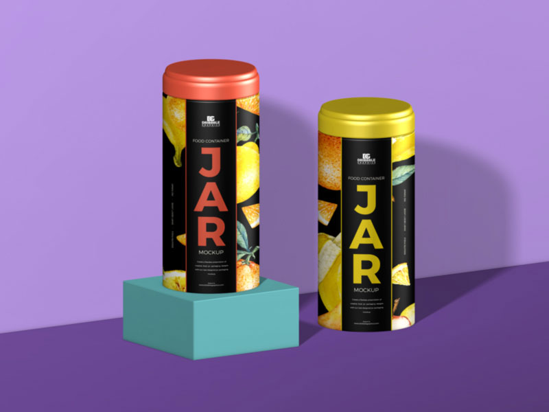 2 vertical food cans on purple background