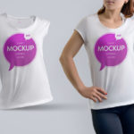 Girl Wearing T-Shirt Mockup