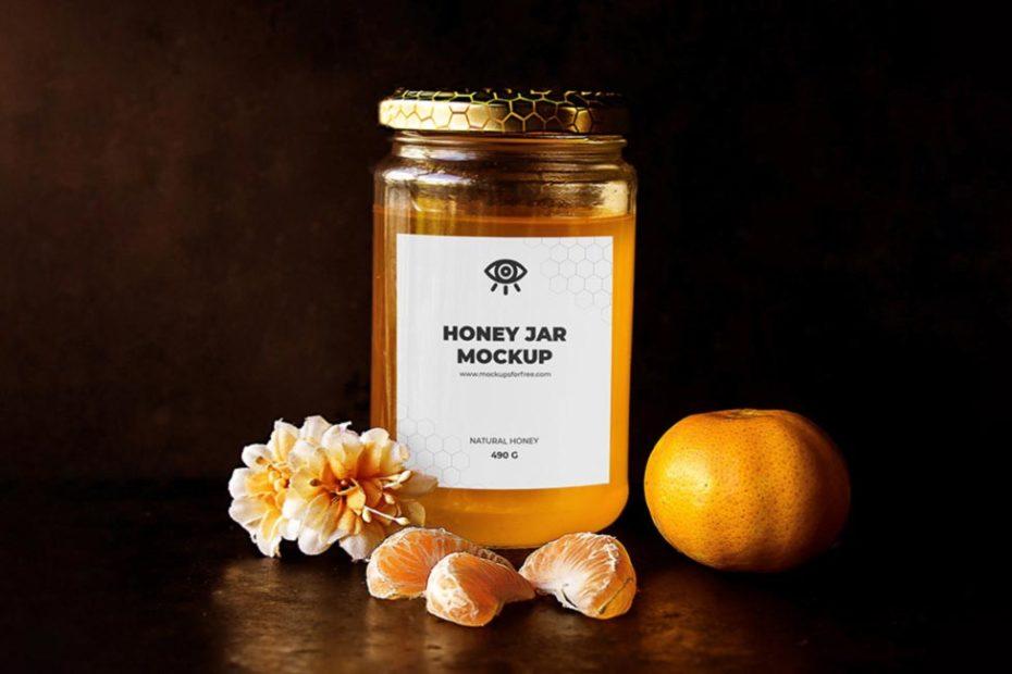 labeled honey jar bottle