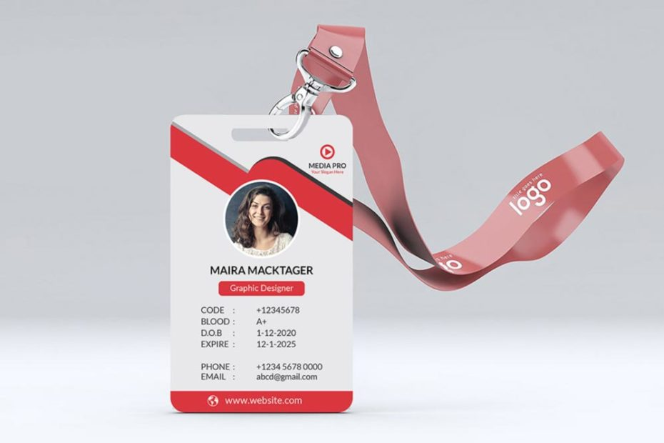 Red ID Card with Ribbon