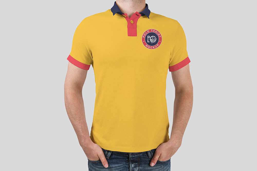 Man Polo T-Shirt Mockup