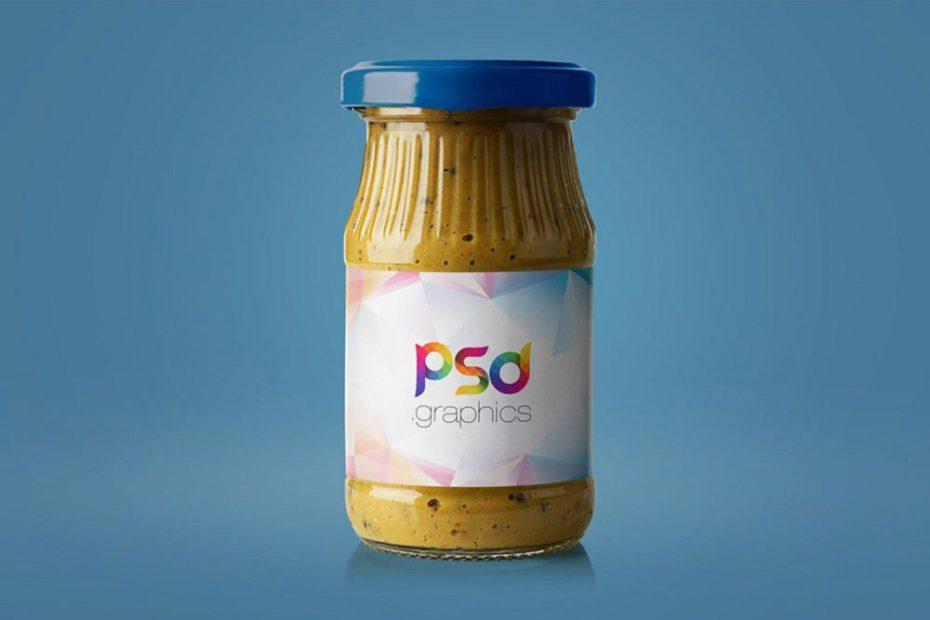 Mustard Jar on blue background