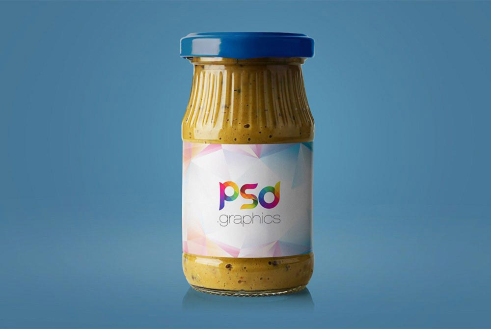 Mustard Jar on blue background