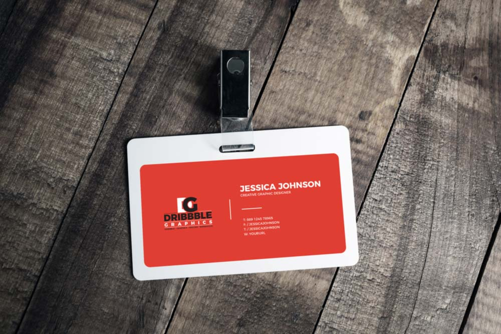Plastic Id card on wooden background