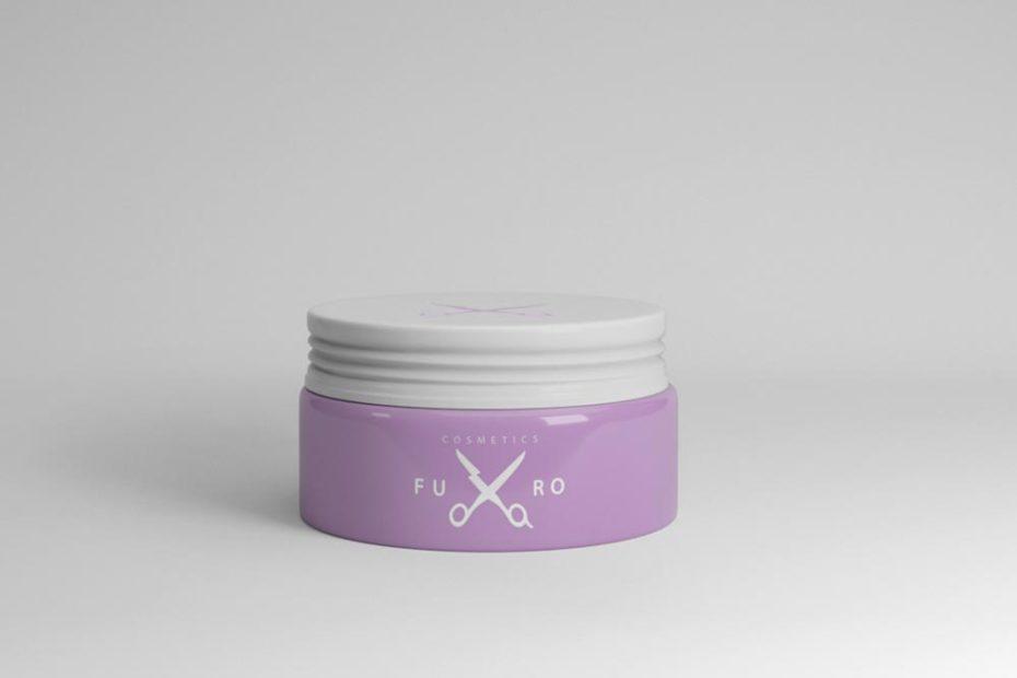 light purple colour cosmetic jar