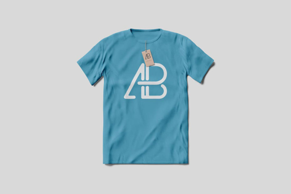 Blue T-Shirt with Tag on light grey Background