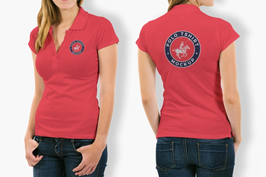 Women wearing red polo t shirt