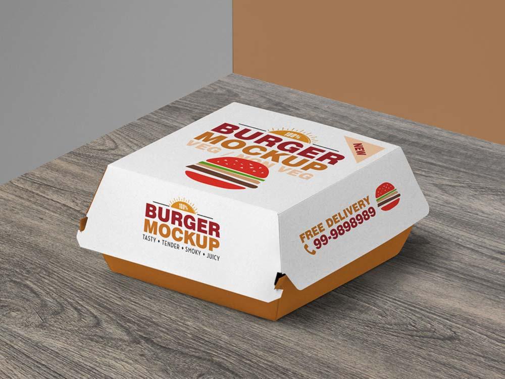 Free Burger Box Mockup PSD