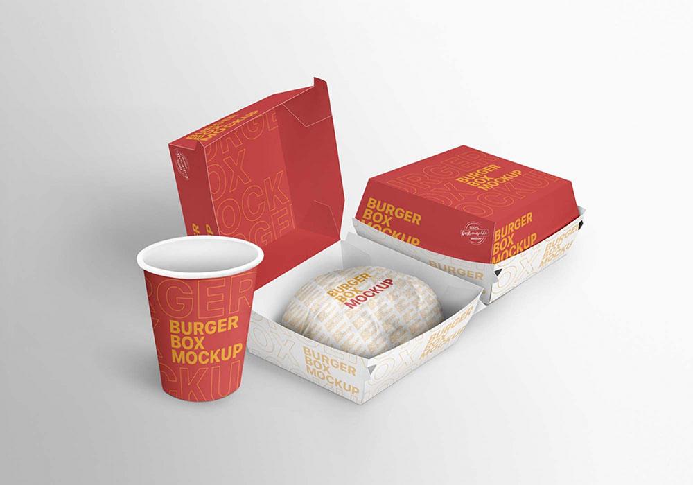 Free Burger Boxes Mockup PSD