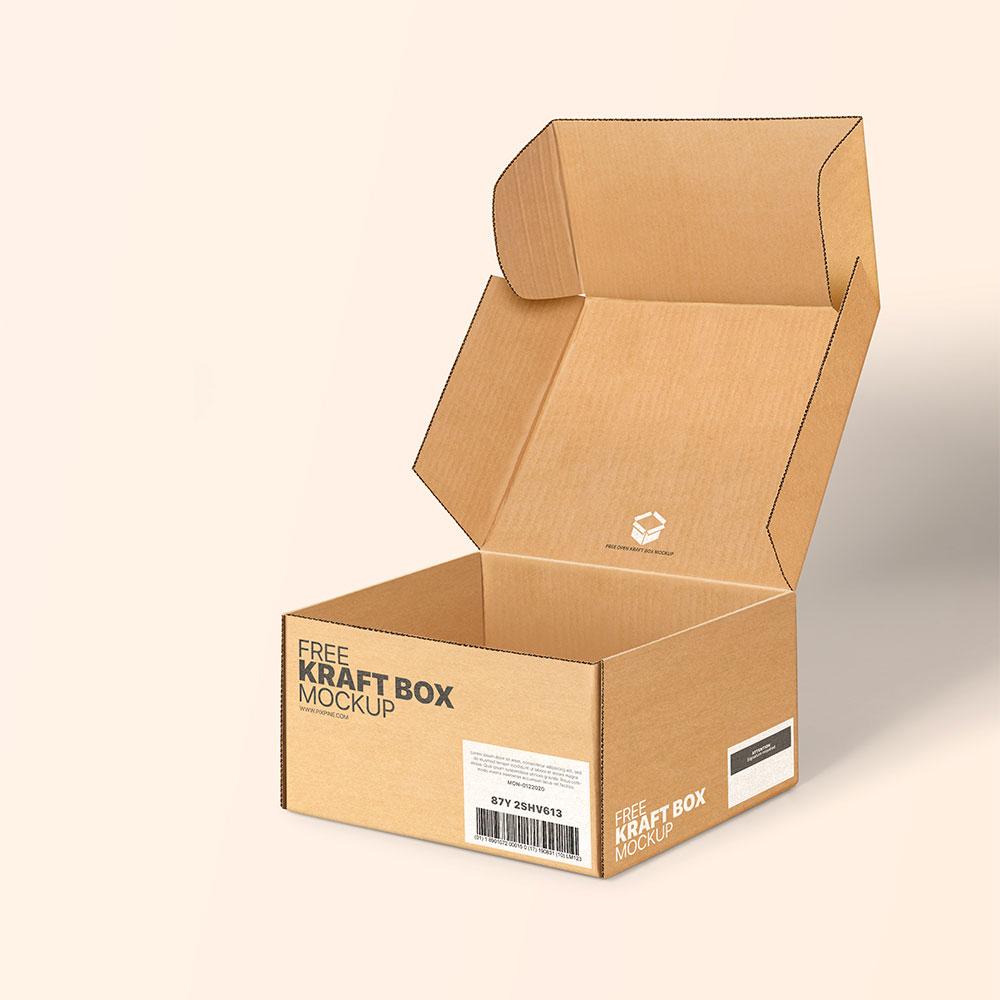 Free Kraft Box Mockup PSD