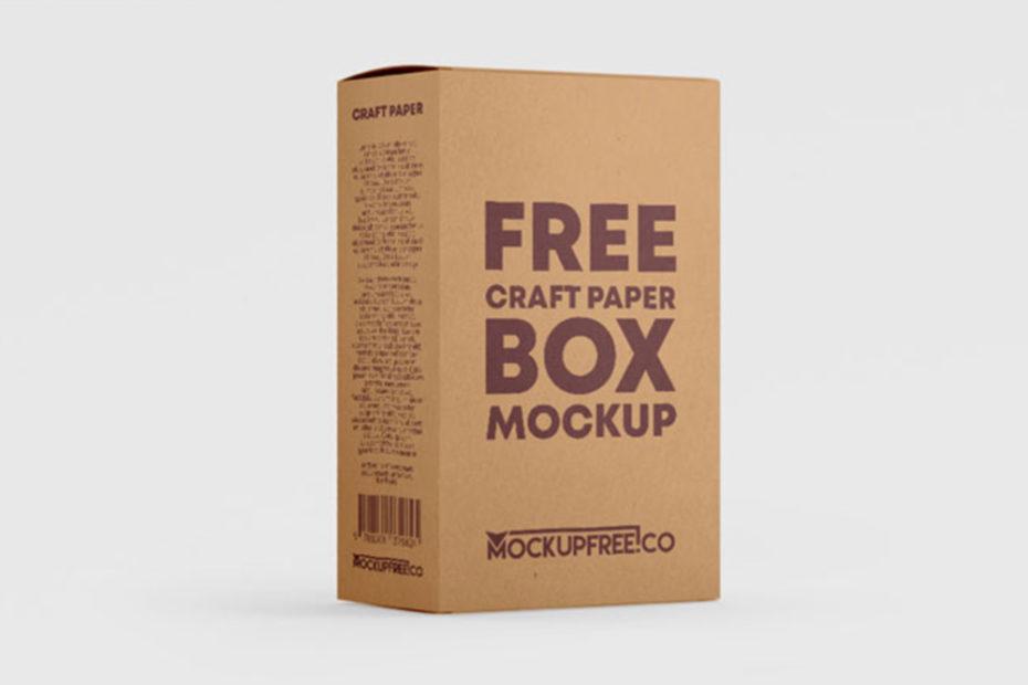Free Kraft Paper Box Mockup PSD