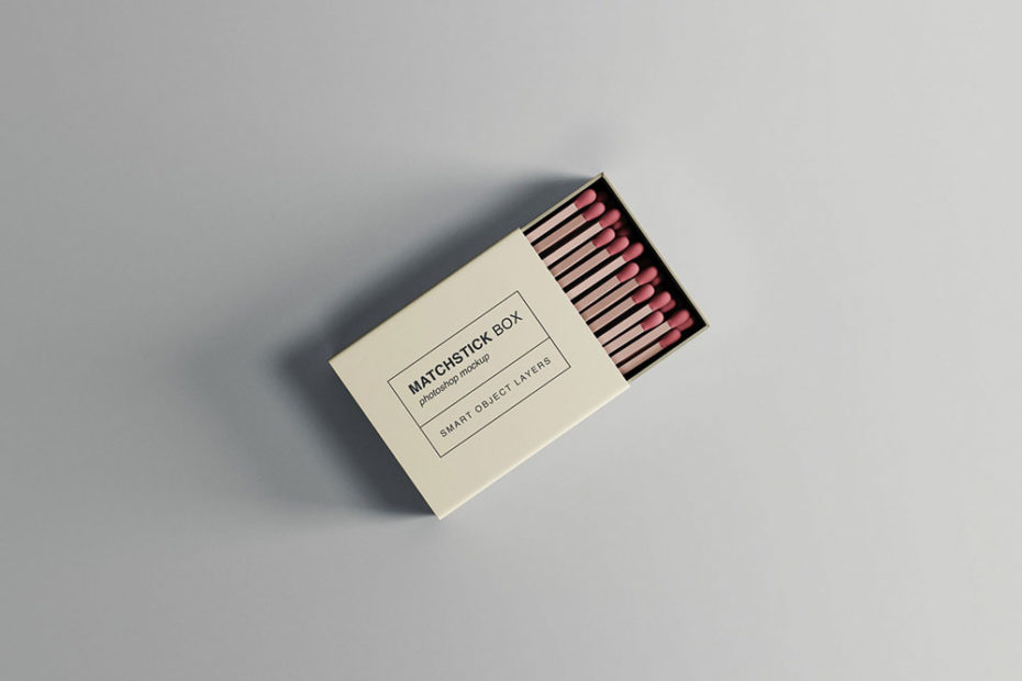 Free Matchstick Box Mockup PSD