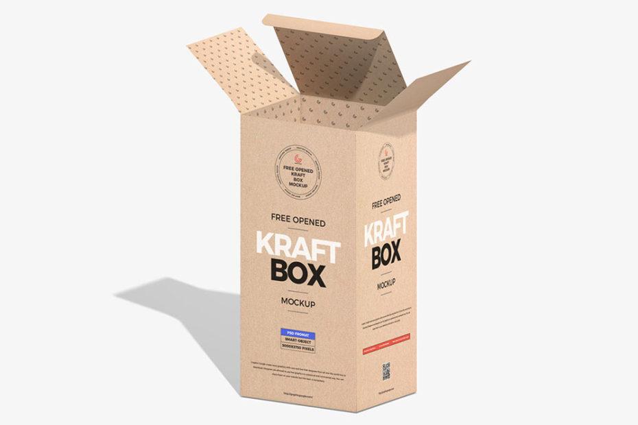 Free Opened Kraft Box Mockup PSD