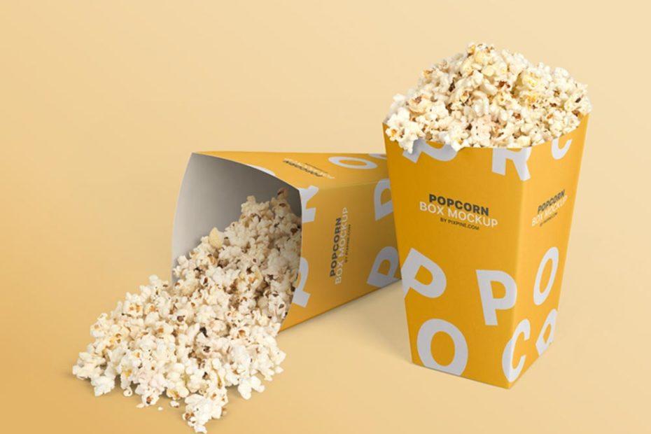 Free Popcorn Box Mockup PSD