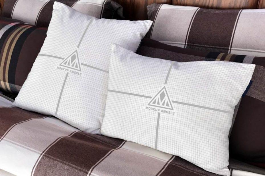 Free White Pillows Mockup