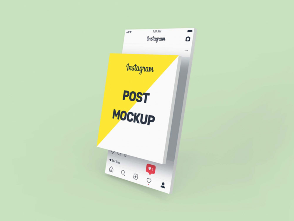 Free 3D Instagram Post Mockup