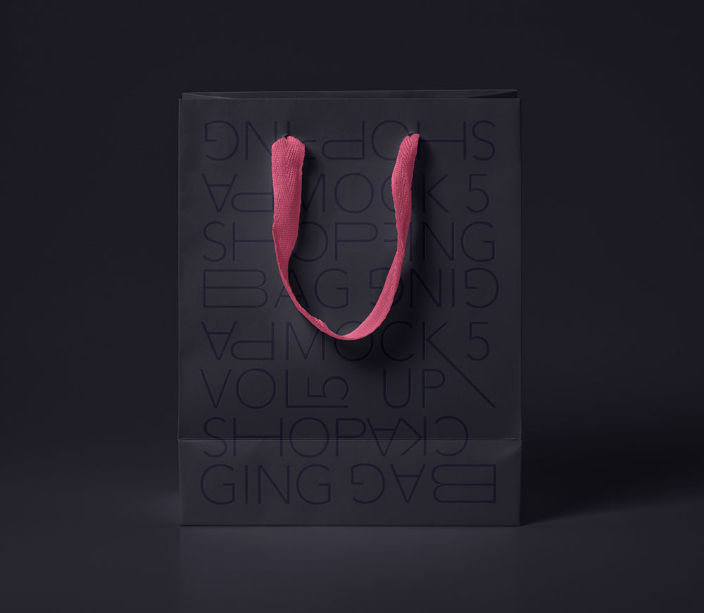 Free Black Paper Bag Mockup