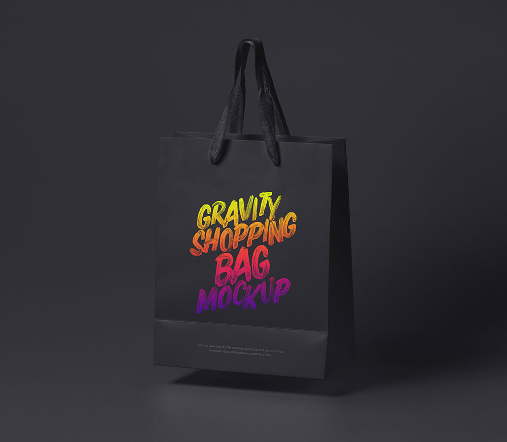 Free Black Shopping Bag Mockup