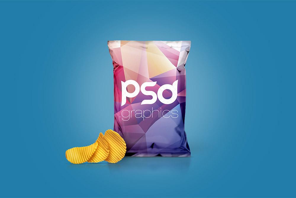 Free Chips Foil Bag Mockup PSD