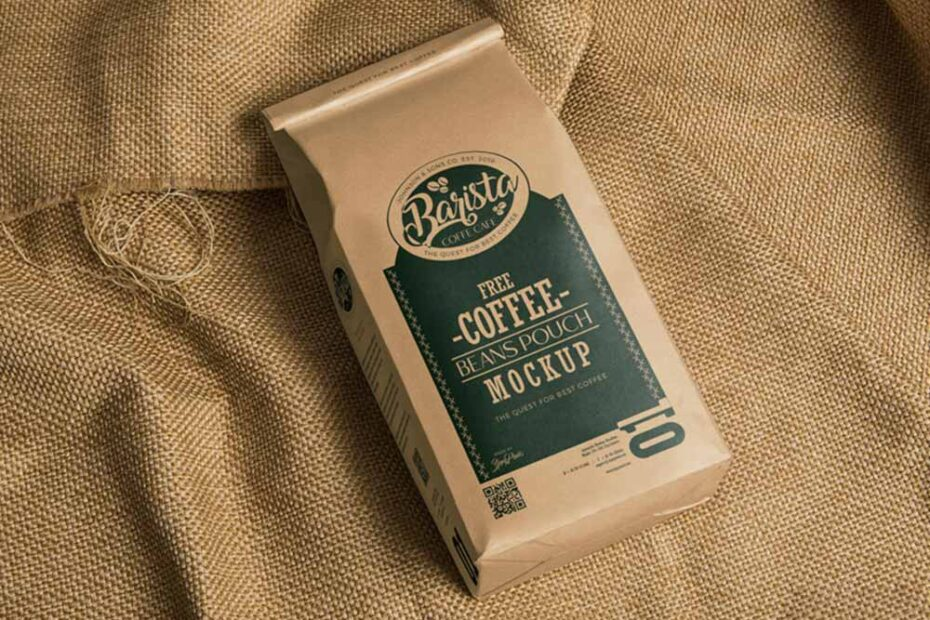 Free Coffee Bag PSD Mockup