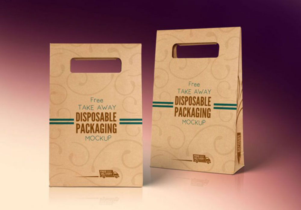 Free Disposable Food Bag Mockup PSD