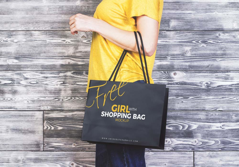 Free Girl with Shopping Bag Mockup