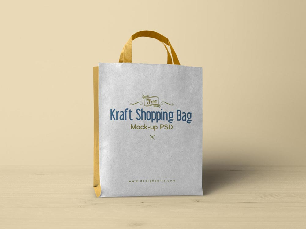 Free Kraft Paper Shopping Bag Mockup