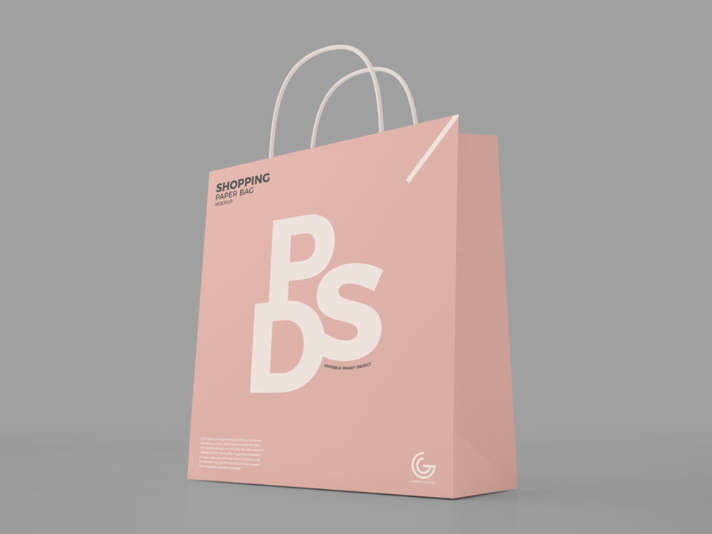 Free Modern Shopping Paper Bag Mockup
