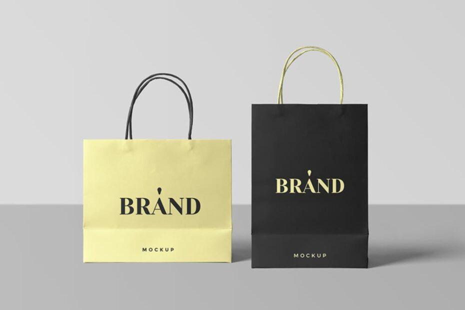 Free Paper Shopping Bags PSD Mockup
