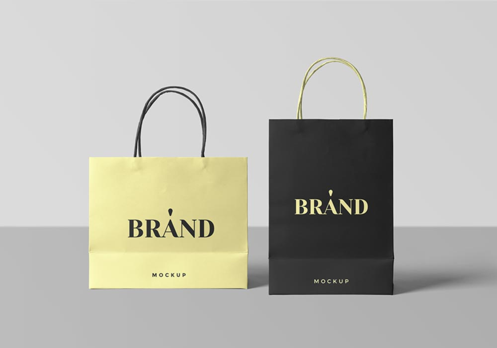 Free Paper Shopping Bags PSD Mockup