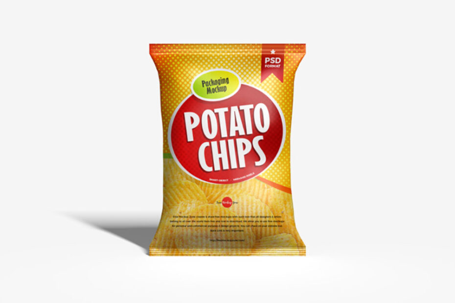 Free Potato Chips Bag Mockup PSD