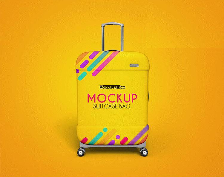 Free Suitcase Bag Mockup