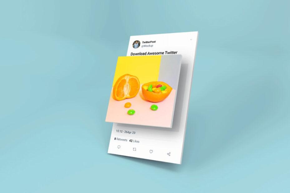 Free Twitter Post 3D Mockup