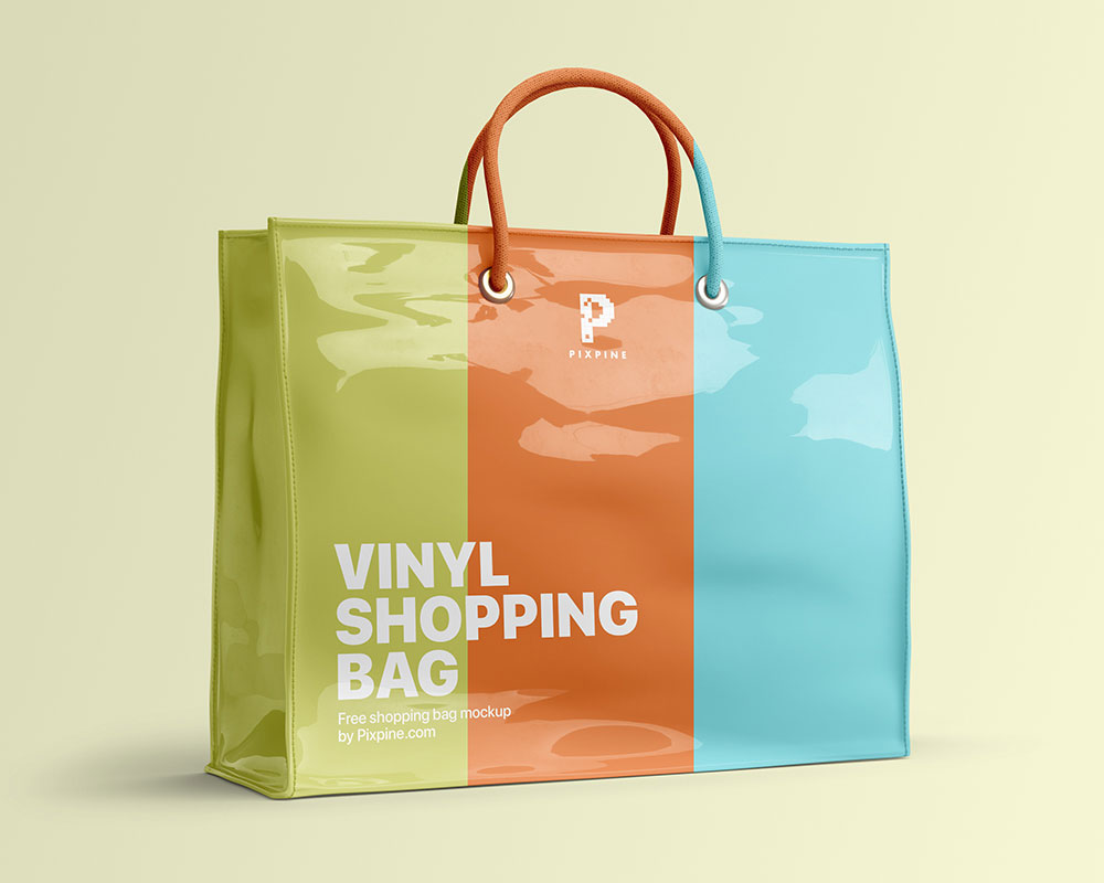 Free Vinyl Shopping Bag Mockup
