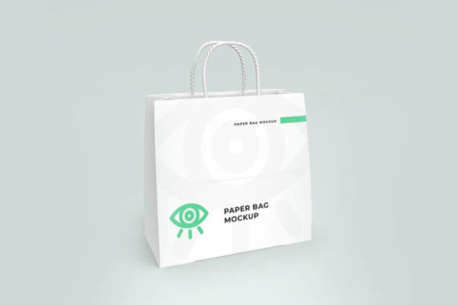 Free White Paper Shopping Bag Mockup PSD