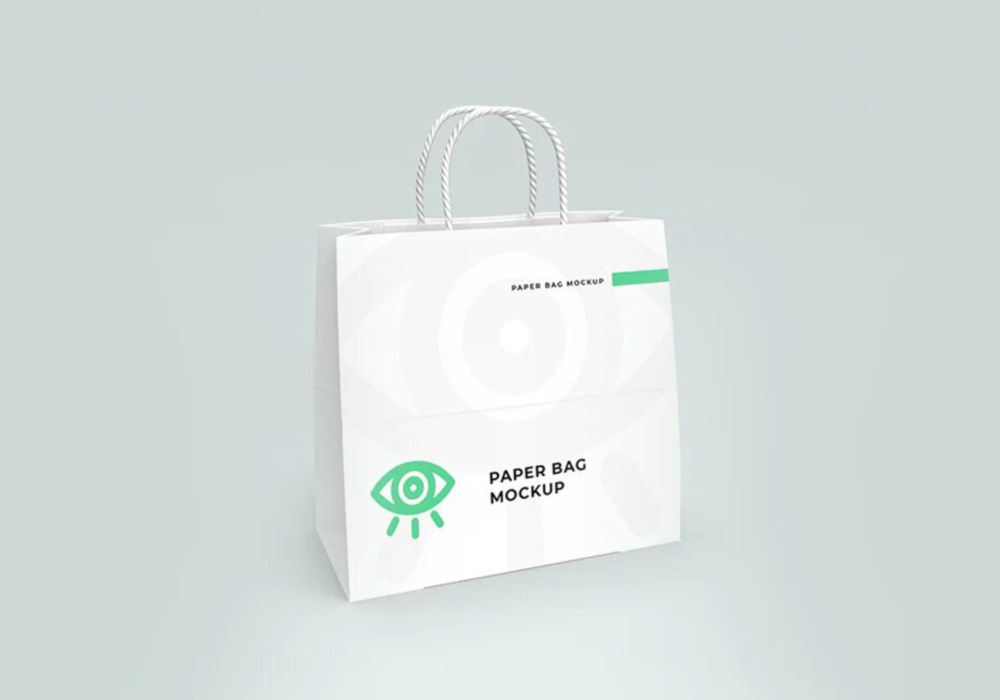 Free White Paper Shopping Bag Mockup PSD