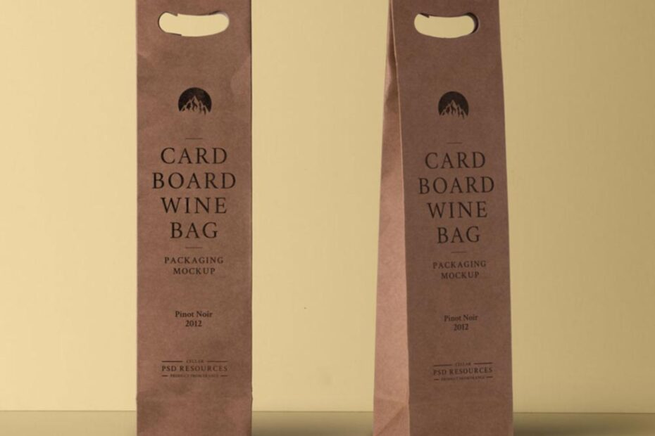 Free Wine Cardboard Bag Mockup