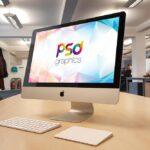 Free iMac On Office Desk Mockup