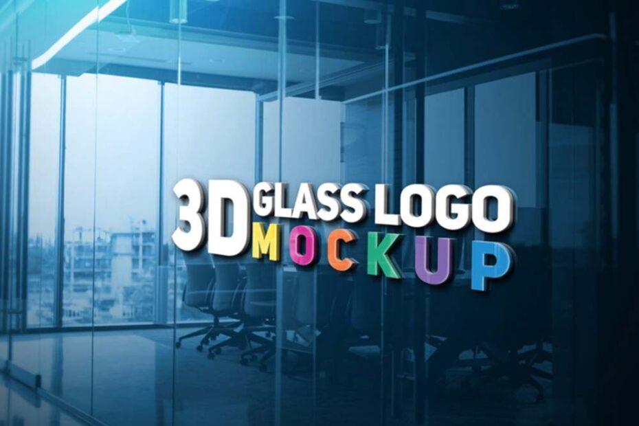 3D Glass Logo Mockup PSD