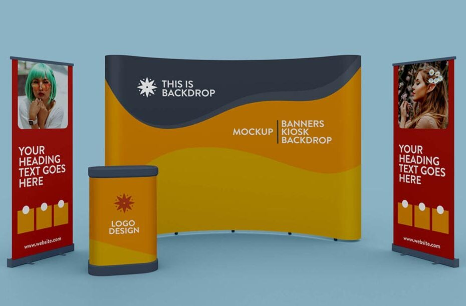 Free Exhibition Banner, Kiosk & Backdrop Mockup