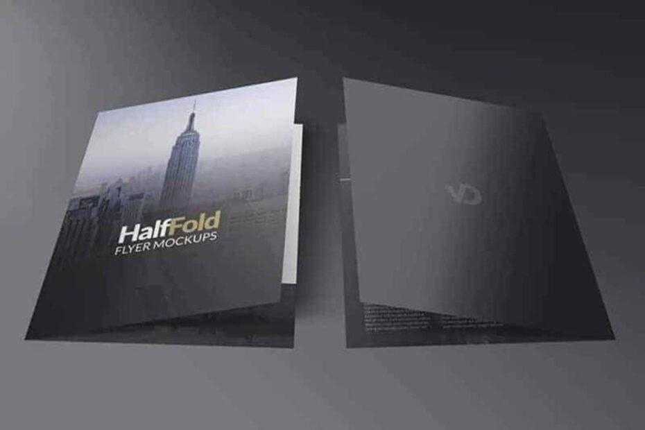 Free Half Fold Flyer Mockup PSD